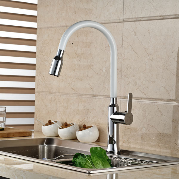 New Single Handle Kitchen Sink Faucet White And Chrome Finish Mixer Tap China