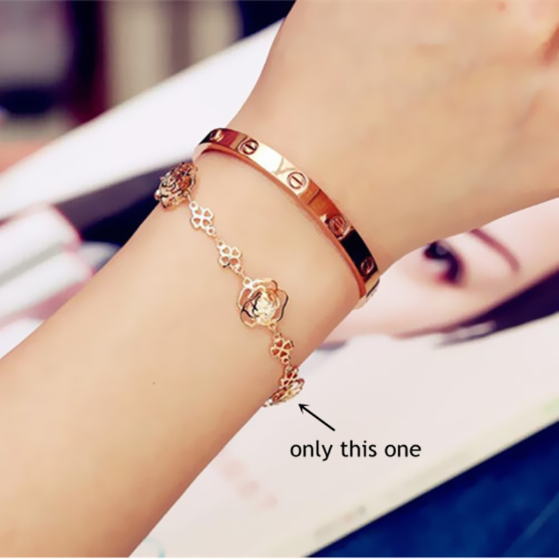 Fashion Hand Jewelry Bracelets Bangles Hollow Out Rose Zircon Gold Plated Chain Bracelet For Woman Sl021 In Link From
