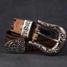 Винтажный ковбойский ремень ручной работы с тисненым цветком 3,3 см, ремень с пряжкой из натуральной кожи, мужской ремень из воловьей кожи