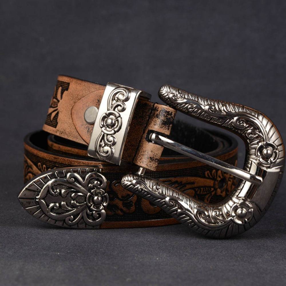 3.3cm Vintage Emboss Flower Belt Handmade Cowboy Belt Genuine Leather Pin Buckle Strap Chunk Buckle Male Cowhide Trousers Belt