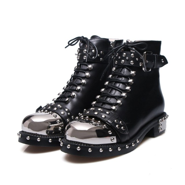 05e0f2aef0e7 2018 Trendy New Design Studed Buckle Strap Motorcycle Boots Black Leather  Boots Women Ankle Boots