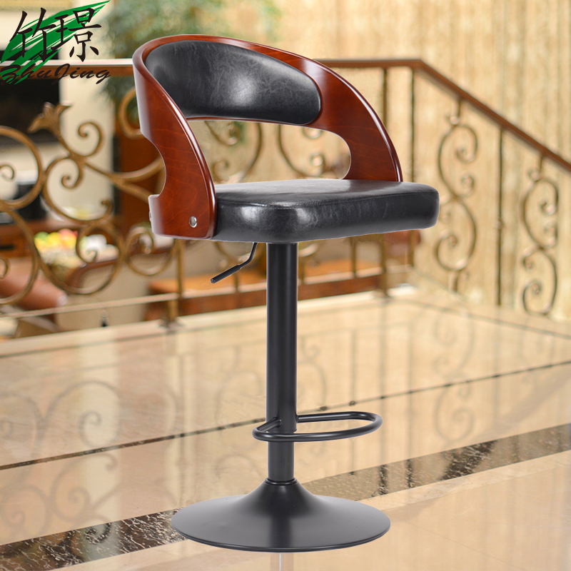 American solid wood barstool bar chair liftable European fashion bar chair real wood bar chair european bar chair iron art chair rotate the front chair