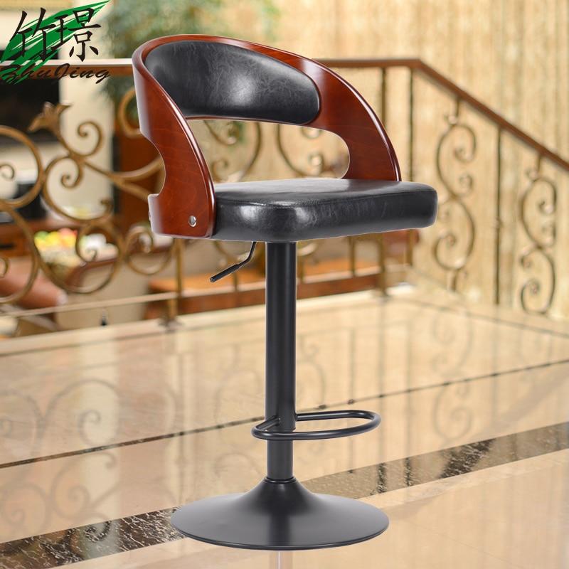 American Solid Wood Barstool Bar Chair Liftable  European Fashion Bar Chair