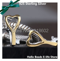 Free Shipping 925 Sterling Silver Jewelry Pendant Golden Key With Heart Charm Bead Fit For European Bracelet And Necklace VK0697