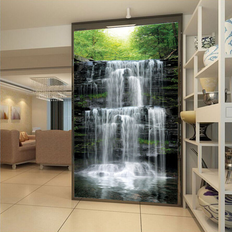 Custom Wall Mural Papel De Parede 3D Waterfall Landscape Living Room Entrance Photo Background Wall Papers Home Decor Wallpaper free shipping waterfall wood bridge 3d landscape landscape background wall bedroom bathroom living room wallpaper mural