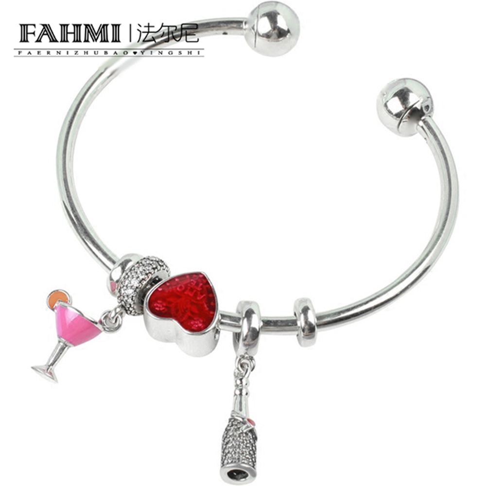 FAHMI 100% 925 Sterling Silver Brand New 1:1 Authentic Wine Red Love Charm Hand Ladies Fashion Heart Love Opening Bracelet SetFAHMI 100% 925 Sterling Silver Brand New 1:1 Authentic Wine Red Love Charm Hand Ladies Fashion Heart Love Opening Bracelet Set