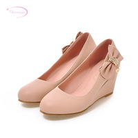 Chainingyee sweet style round head pumps fashion diamond bow black white pink apricot high heel wedges women's shoes