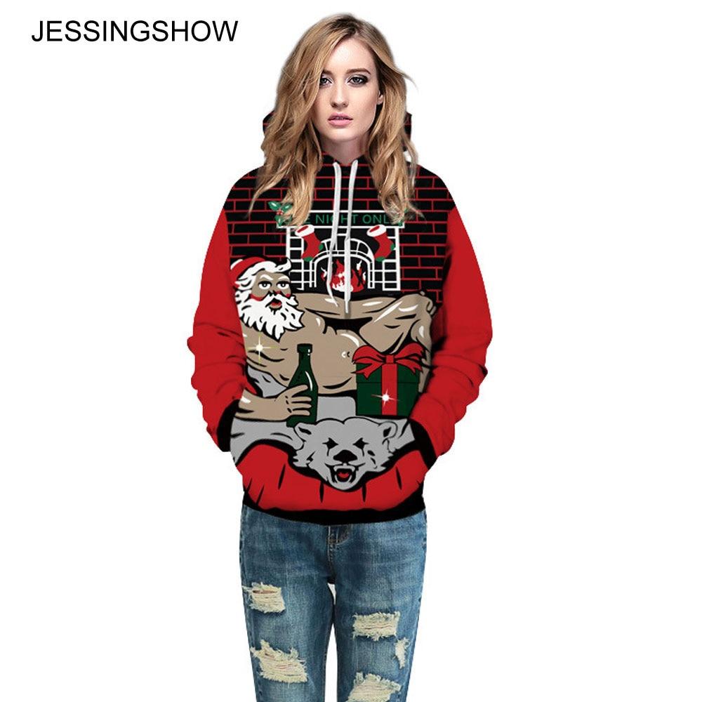 JESSINGSHOW New 3D Print Christmas Hoodies Sweatshirts Plaid Pullover Hooded Hoodie Spoof Santa Claus Women Men Tracksuit Coat