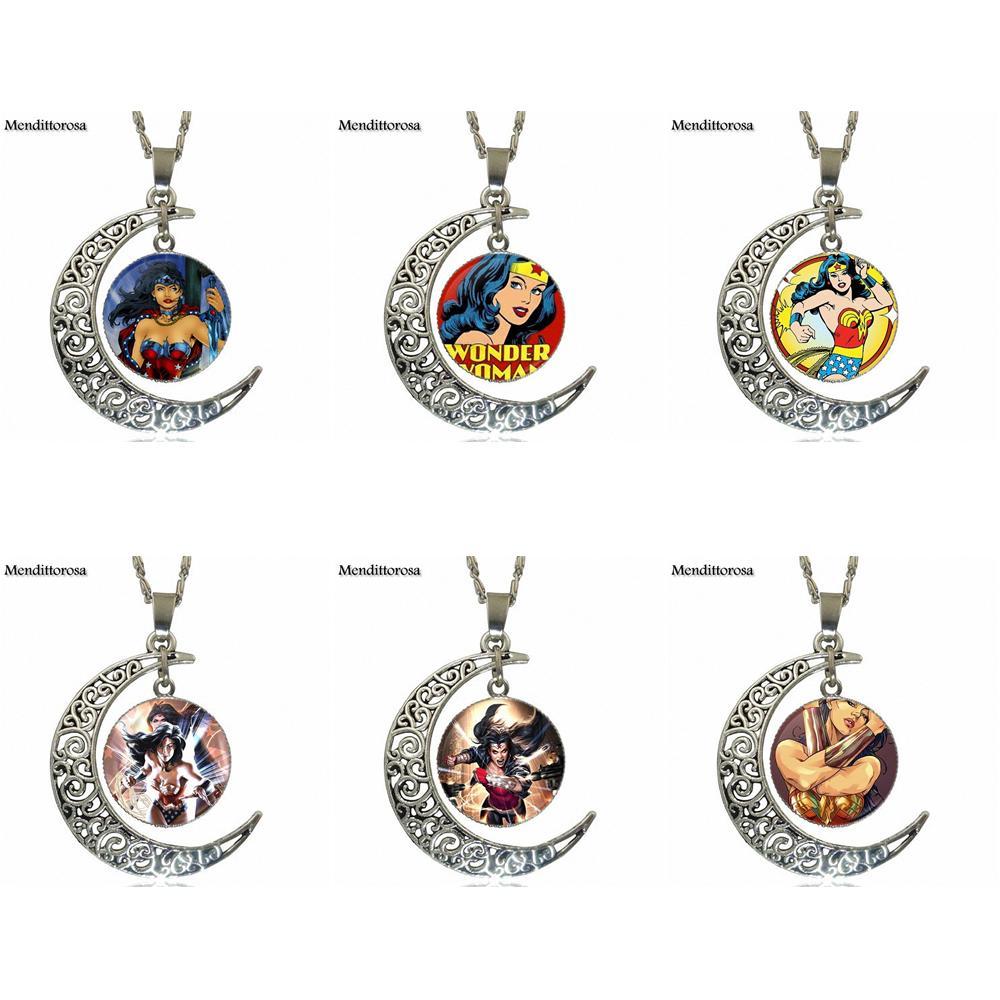 Mendittorosa супергероя чудо-Для женщин для любителей подруга Best подарок Дизайн модные Стекло полумесяц Для женщин Цепочки и ожерелья Подвески