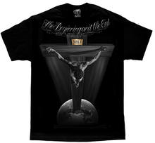 DGA David Gonzales Art The Beginning Jesus Crucifix Tattoo Religion Mens Shirt(China)