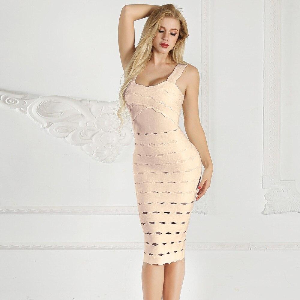 Automne et hiver style bandage célébrité rayonne robe taille haute fente corps con sexy femmes les robes de fête en gros - 5