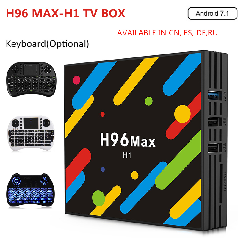 H96 MAX-H1 Android 7.1 TV Box 4 GB RAM 32 GB ROM Set Top boîte RK3328 2.4G/5G Wifi Bluetooth 4.0 4 K H.265 Media Player pk h96 pro