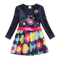 Spring Autumn Newest Design Flower Toddler Dresses Girl Clothing Cotton Baby Girls Dress Print Long Sleeve