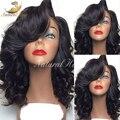 100% de la Onda Natural Brasileño de la Virgen Del Pelo Pelucas Delanteras Del Cordón Corto Bob peluca de Cabello Humano Completo de Encaje Pelucas de Pelo Humano Para Negro mujeres