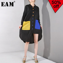 [EAM] 2019 New Spring Summer Stand Collar Long Sleeve Hit Color Pocket Loose Big Size Long Shirt Dress Women Fashion Tide JF7360(China)