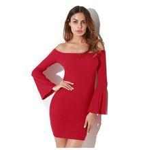 Новый-сексуальное с плеча трикотажные Для женщин облегающее платье мини тонкий длинным Расклешенным рукавом осень-весна Платья для женщин без бретелек Платья-свитеры