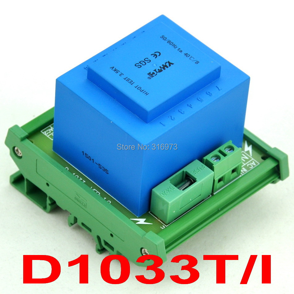 P 115VAC, S 2x 9VAC, 20VA DIN Rail Mount Power Transformer Module,D-1033T/I,9VP 115VAC, S 2x 9VAC, 20VA DIN Rail Mount Power Transformer Module,D-1033T/I,9V