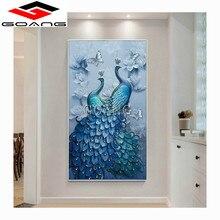 GOANG 5d diy diamond embroidery Blue mandarin duck peacock painting Cross Stitch full drill Rhinestone mosaic decor