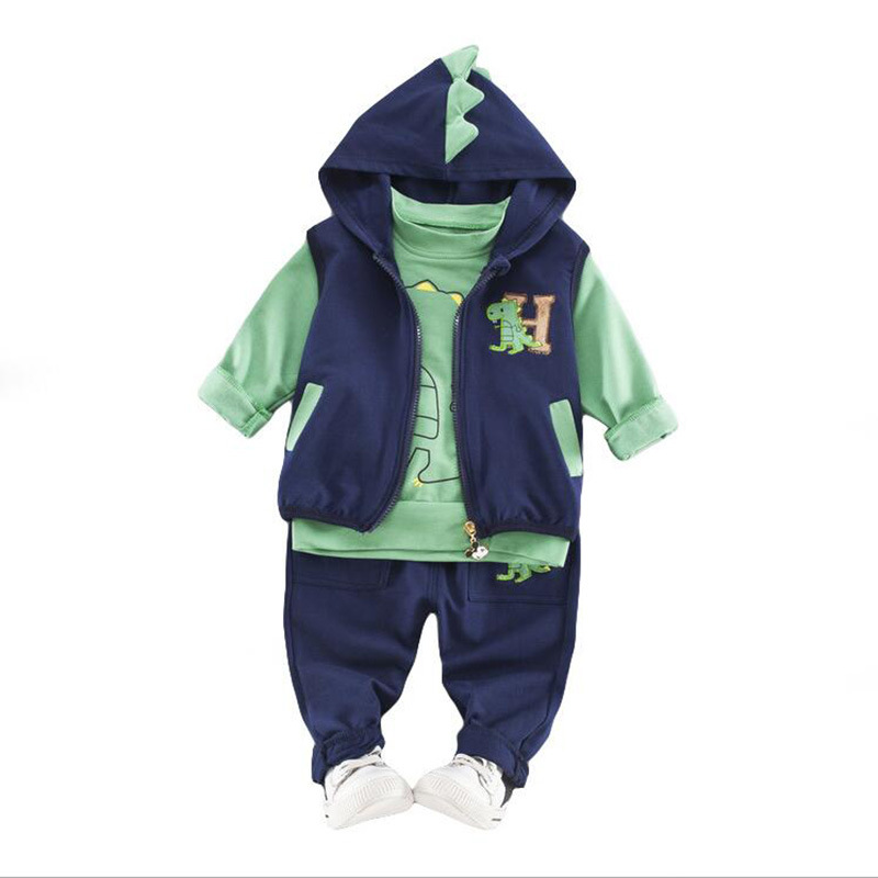Toddler Boys Girls Clothing Set 2018 Fall Winter Children Hooded Fashion Cartoon Dinosaur Outfit Kids Clothes for 1 2 3 Years ems dhl free shipping toddler little boys 3pc minions cartoon casual wear summer outfit children clothing 7 colors 80 90 100 110