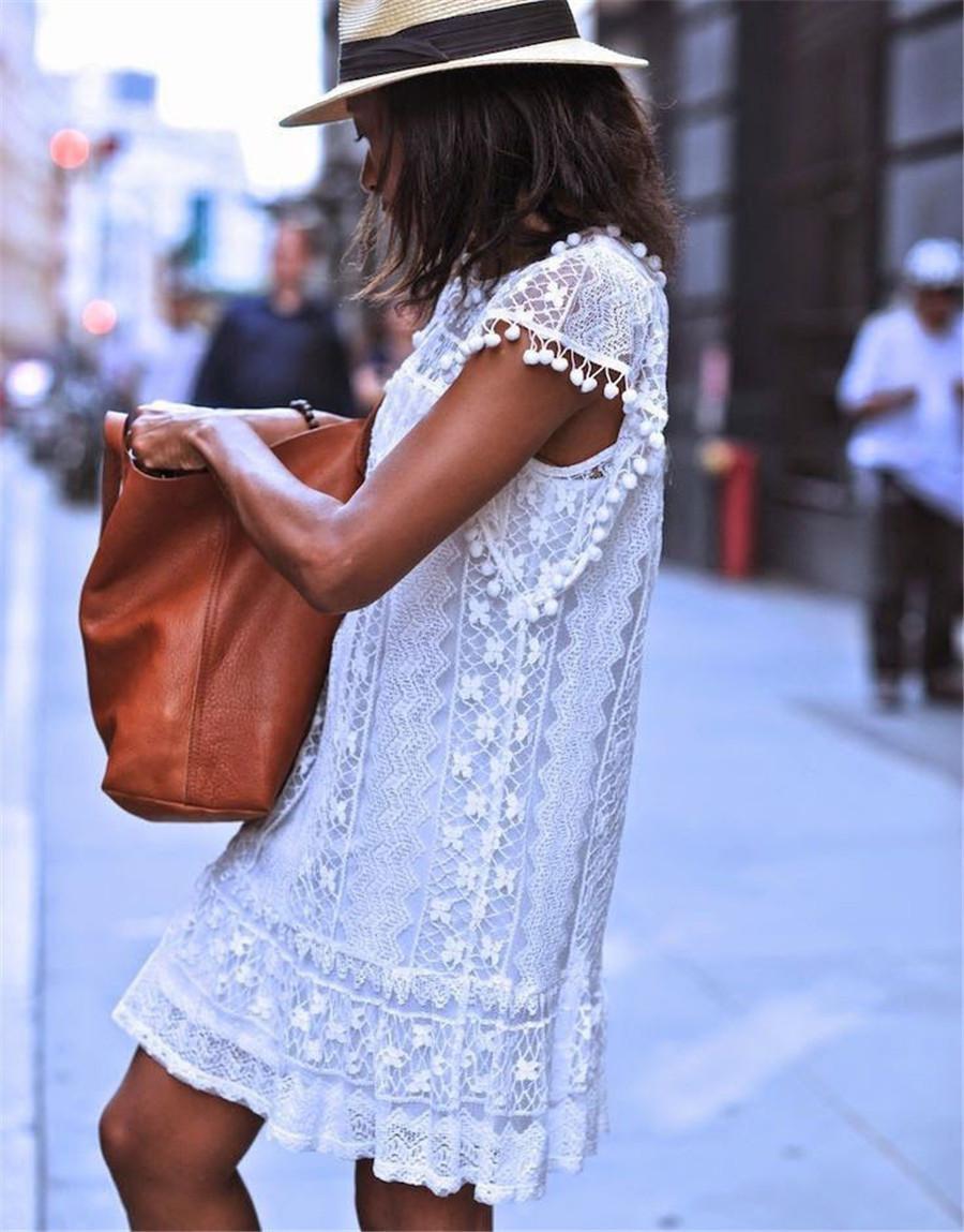 White Lace Sleeveless O-Neck Sexy Hollow Out Mini Dress 2