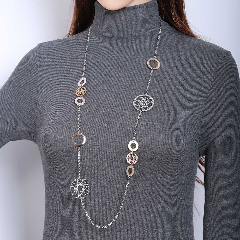 Gold Long Chain Necklace Women Geometric Circles Charm Hollow Ball Heart Pendants Femme Collier Statement Necklace Dropshipping