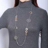 Gold Lange Kette Halskette Frauen Geometrische Kreise Charme Hohl Ball Herz Anhänger Femme Collier Aussage Halskette Dropshipping