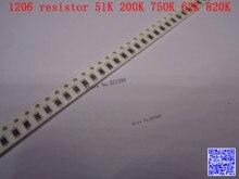 1206 F SMD resistor 1/4W 51K 200K 750K 62K 820K ohm 1% 3216 Chip resistor 500PCS/LOT
