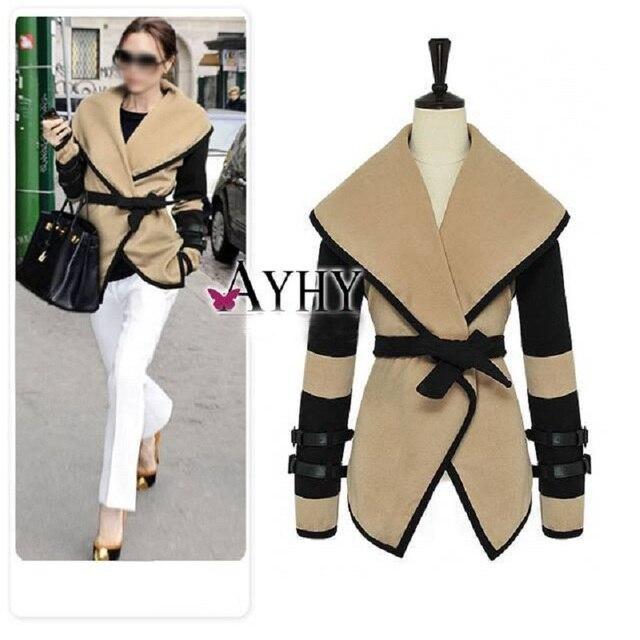 Fashion Ladies Winter Coat Women Large Lapel Shawl Slim Fit Coats Patchwork Woolen Blends Cashmere Full Sleeve Over Coats Brand