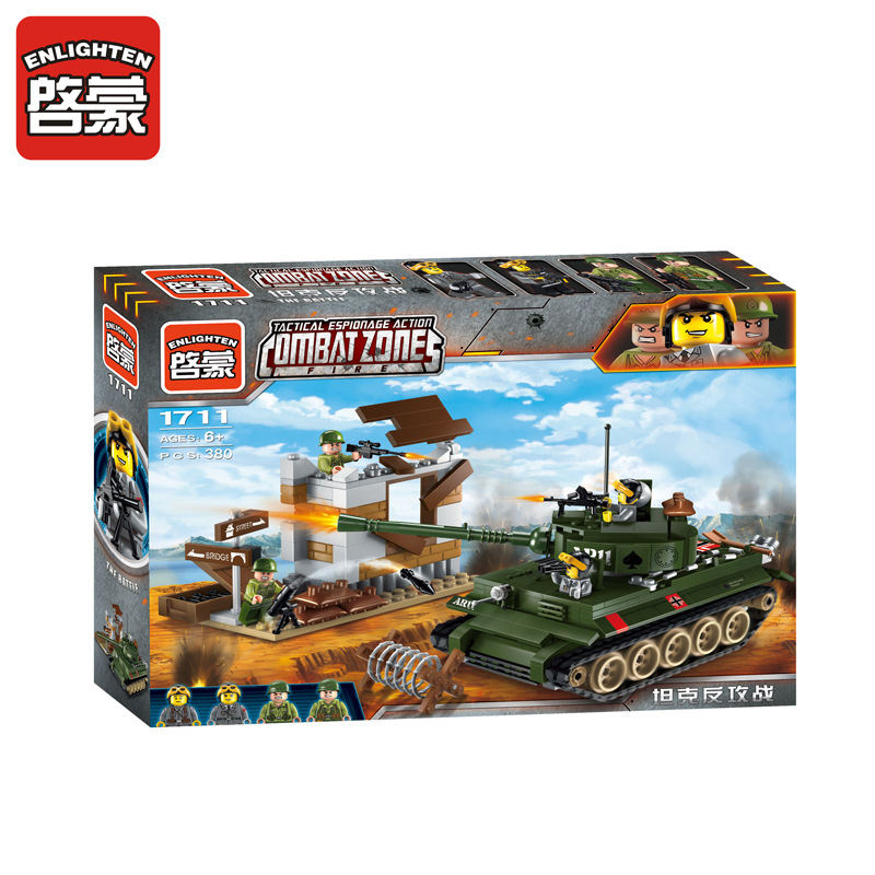 ENLIGHTEN 380pcs City SWAT Series Military Fighter Policeman Model Building Blocks Sets DIY Bricks Educational Kids Toys Gifts 1711 city swat series military fighter policeman building bricks compatible lepin city toys for children