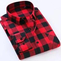 Men S Flannel England Style Plaid Shirts Autumn Slim Brand Business Warm Men Shirt Camisa Masculina