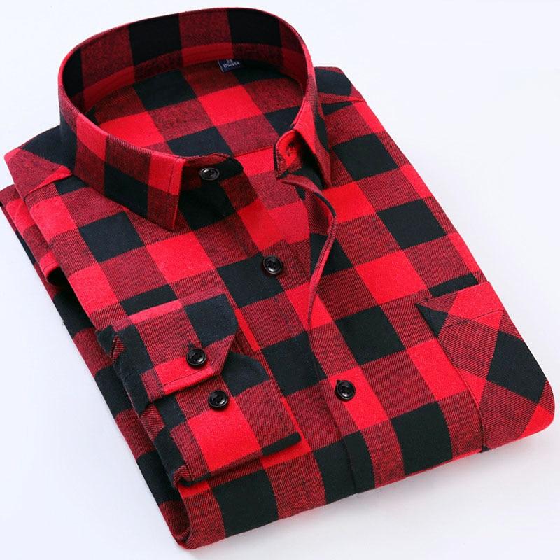 0643a0c150c Большие размеры 6xl Для мужчин  фланелевые рубашки в клетку платье 2017  мужчины Повседневное теплый мягкий комфорт рубашка с длинными рукавами  одежда Camisa ...