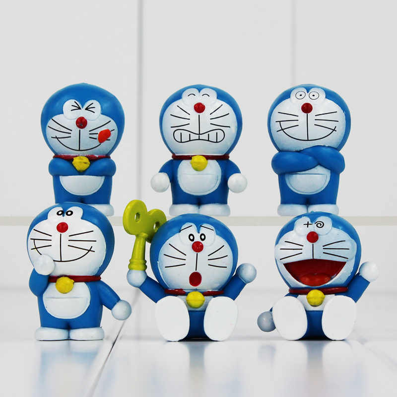 6pcs/slot Cute Doraemon Mini PVC Figures Doraemon Models Toys Christmas Gifts