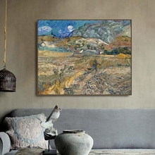 Landscape at Saint by Vincent Van Gogh Poster Print Canvas Painting Calligraphy Wall Picture for Living Room Bedroom Home Decor
