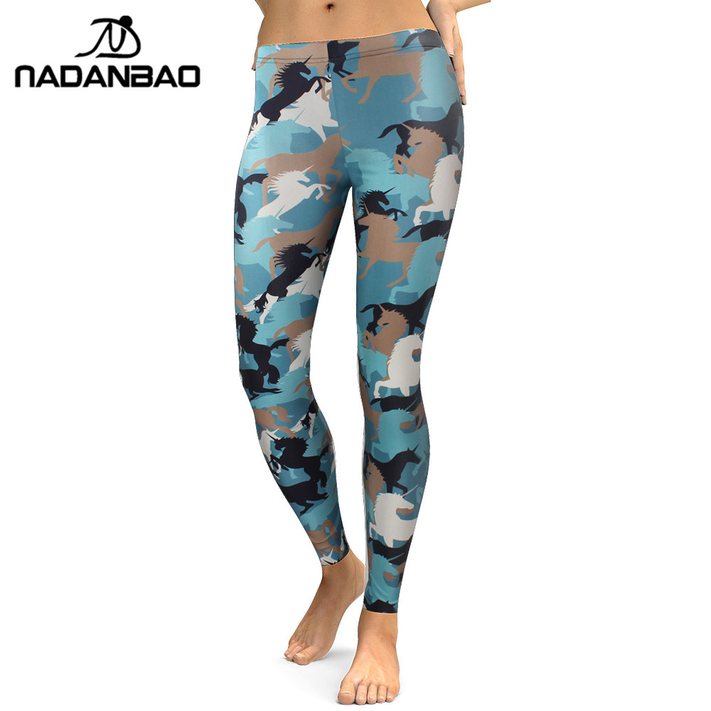 NADANBAO New 2019 Leggings Women Animal Horse Legging Digital Print Fitness Leggins Plus Size Elastic Workout Pants Legins