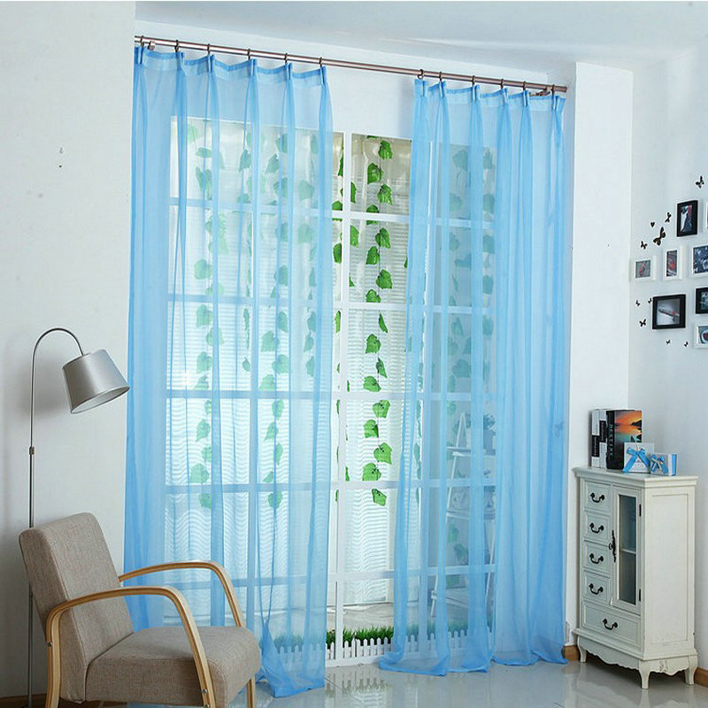 Hot Sale Decorations Soft Sheer Tulle Curtains For Living Room White Pink Yellow Green Blue Voile Solid Color