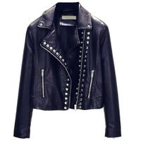 Heavy Metal Rivet Punk Style Faux Leather Jacket Women Streetwear Short Autos Leather Jackets Women Brand Clothing Summer A538
