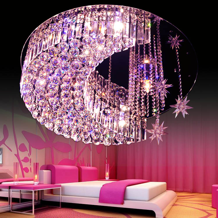 LED star crystal ceiling K9 lamps moon warm and creative ceiling lights Crystal combination living room children's star ZA SJ27 metal moon and star shap cuff ring