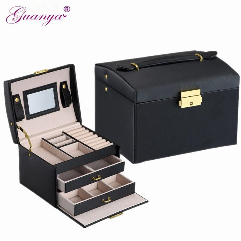 Guanya Brand PU Leather Three Layer Double Drawer Jewelry Box Accessory Container Organizer Case Women Birthday Wedding Gift
