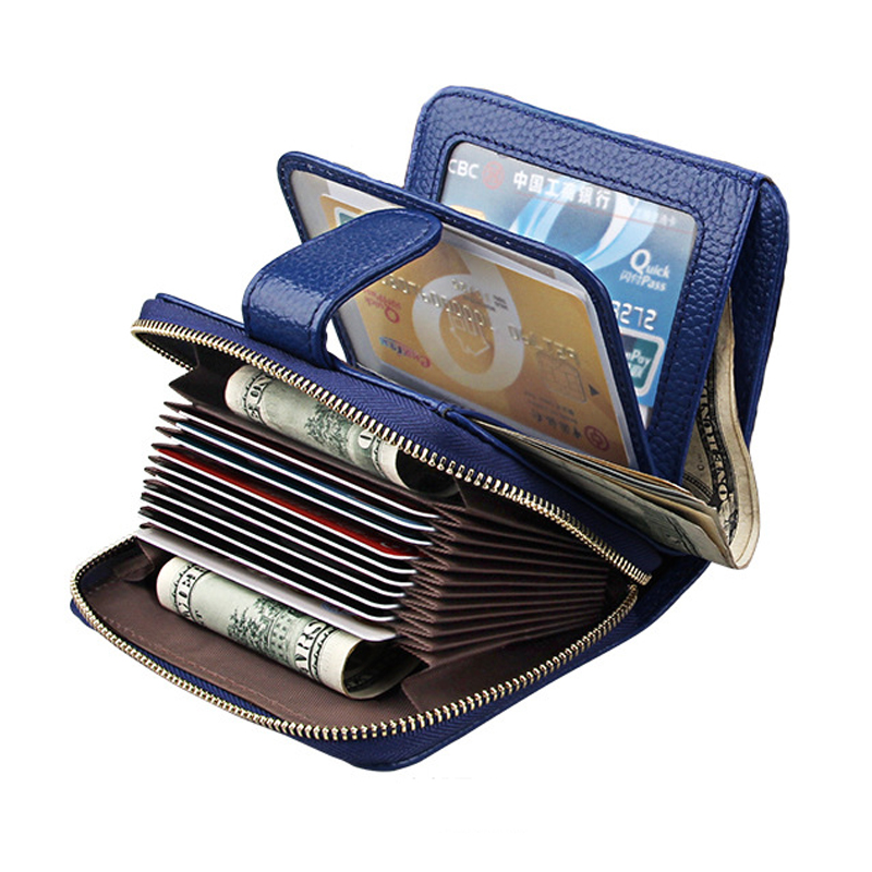 Genuine Leather Business Card Holder Wallet RFID Blocking Bank Credit Card Case ID Holders Women Mini Purses Female Card Bag 2017 new top brand pu thin business id credit card holder wallets pocket case bank credit card package case card box porte carte