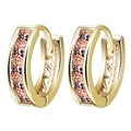Vintage Women Round Earrings Cubic Zirconia  Gold Plated Earring Orange Stone Crystal Luxury Circle Hoop Earring Jewelry