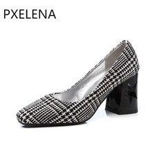 e347facb8 PXELENA 2018 Primavera Na Moda Xadrez OL Bombas Ladies Shoes Deslizar Sobre  Estrela Ornamentação Bloco de Salto Alto Do Dedo Do .