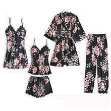 New Women Satin 5PCS Sleepwear Spring Lace Trim Pajama Pyjama Set Print Floral Nightwear Casual Home Wear Lingerie Suit M-XXL scallop trim floral lace lingerie set