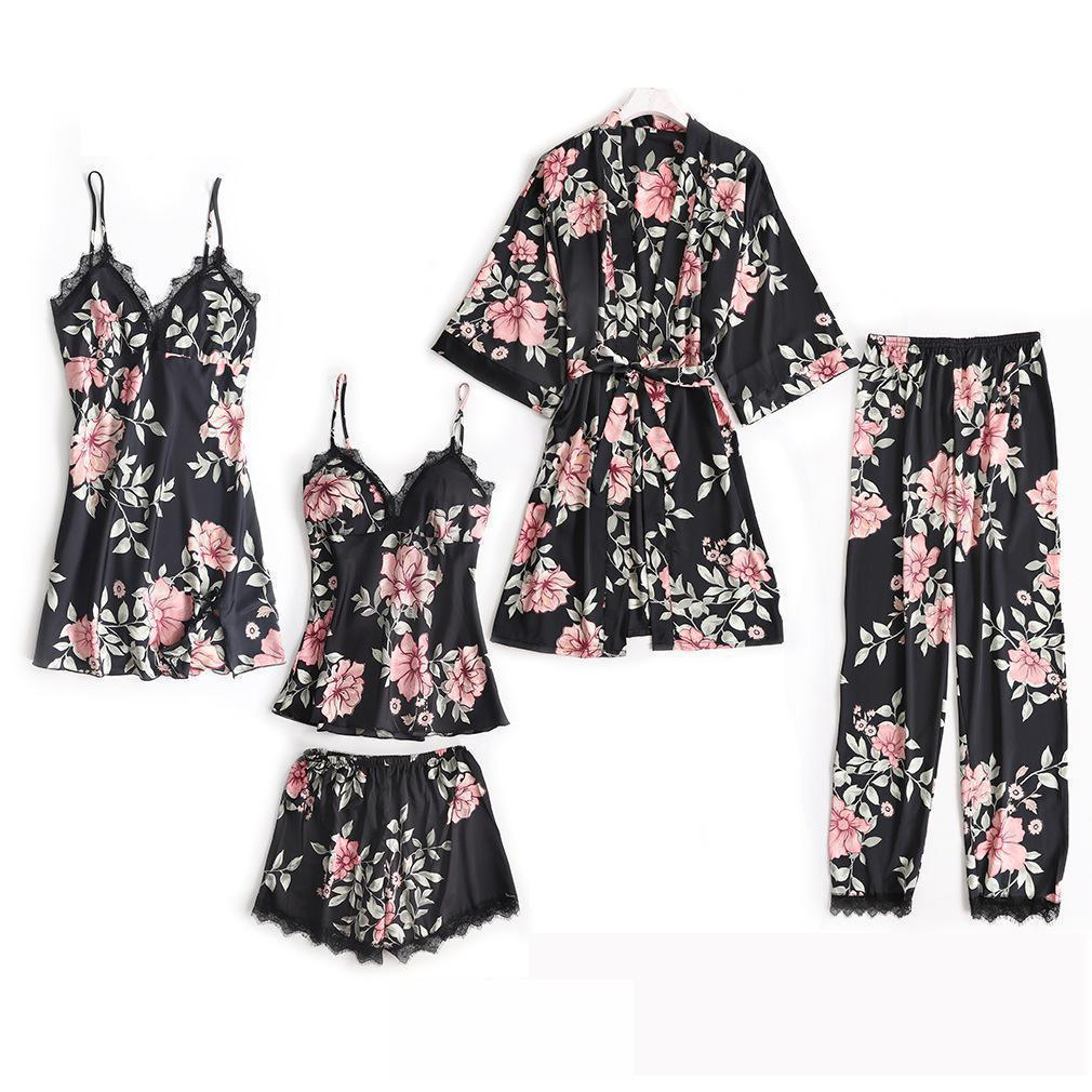 New Women Satin 5PCS Sleepwear Spring Lace Trim   Pajama   Pyjama   Set   Print Floral Nightwear Casual Home Wear Lingerie Suit M-XXL