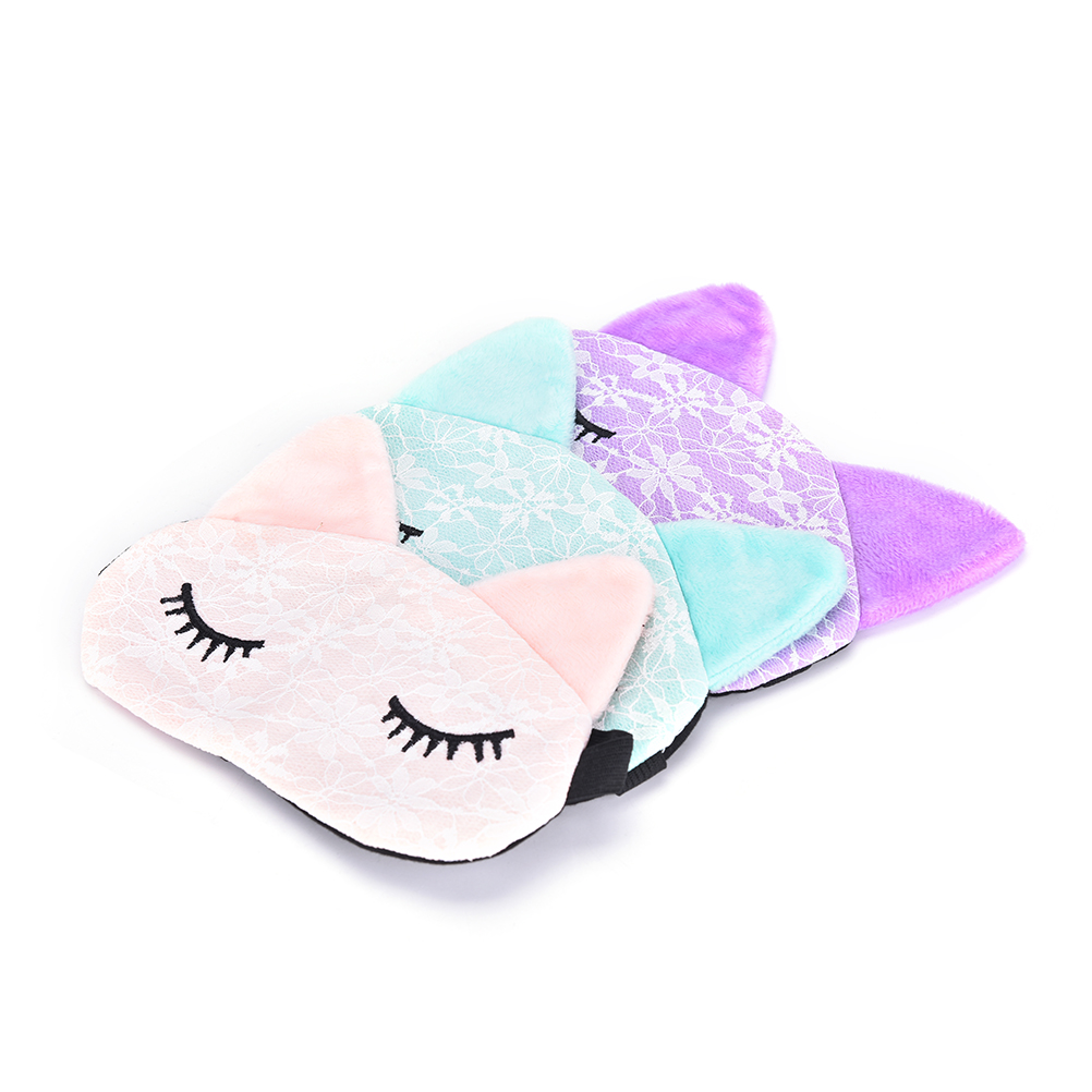 Microfiber Eye Mask  Eyepatch Blindfolds Cartoon Lace Eyeshade Sleeping Mask Cover For Health Care To Shield The Light 3 Colors