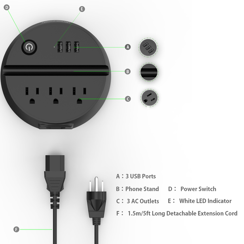 NTONPOWER US Electrical Plug Power Strip