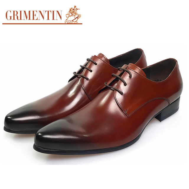 Formal mens dress shoes genuine leather brown wedding Italian Fashion male shoes 2017 GRIMENTIN