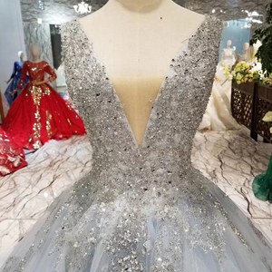 Image 4 - HTL057 beaed prom dress with train v neck sleeveless lace up v back ball gown party formal dress 2020 vestido de festa longo