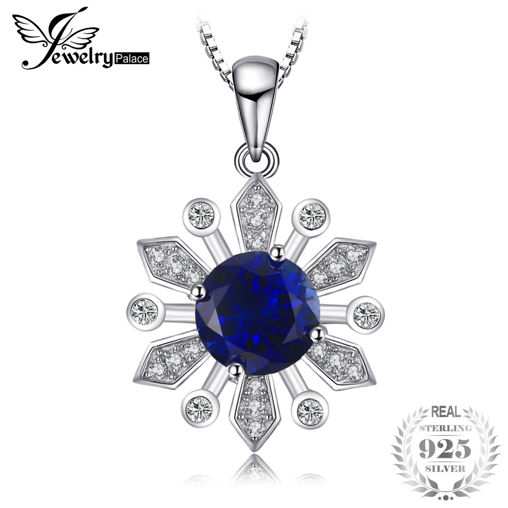 JewelryPalace Chic Flower 2.8ct Round Created Sapphire Pendant Necklace 925 Sterling Silver 45cm Chain Nice Gift Free Shipping джинсы nice & chic nice & chic ni031ewavjm8