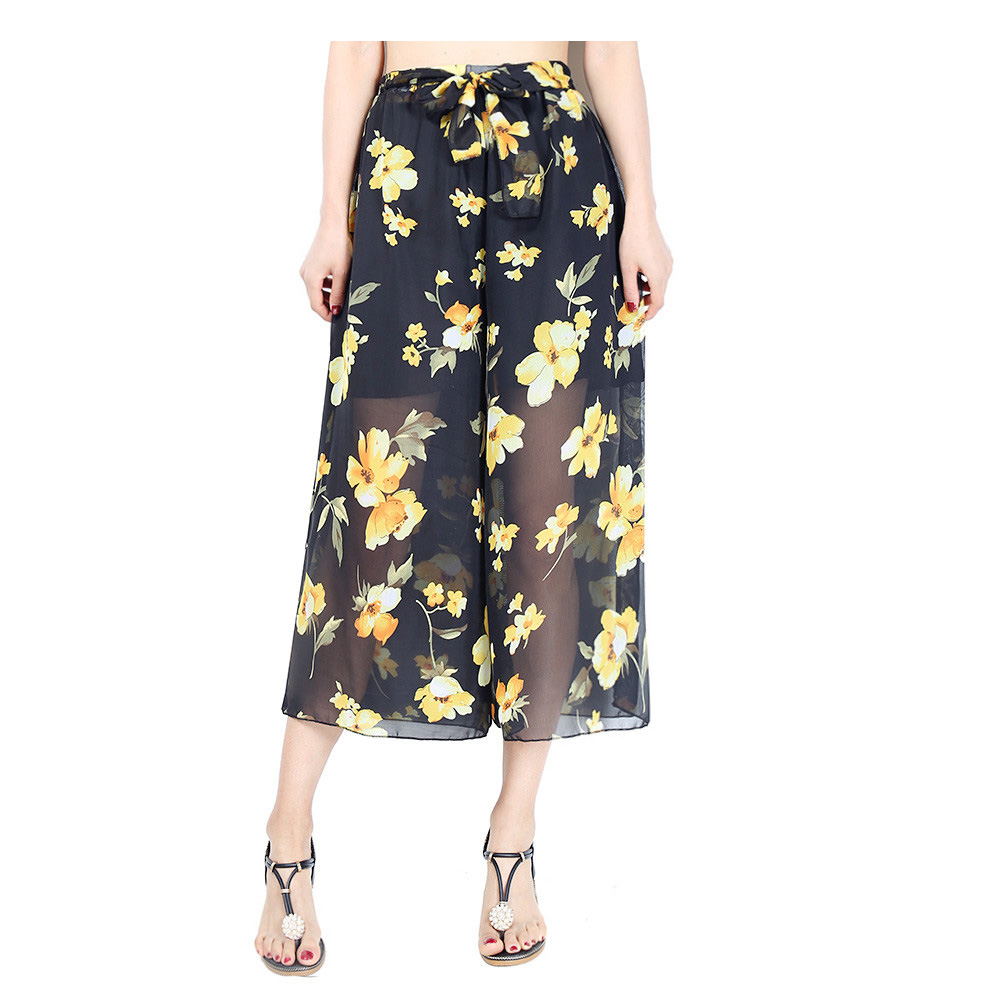women wide leg pants summer printing trousers elastic waist femme plus size wide leg trousers pantalones mujer cintura alta in Pants amp Capris from Women 39 s Clothing