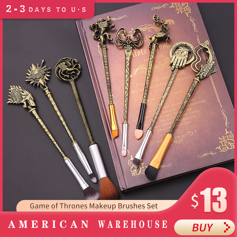 Drop Shipping Hot Movie Game Of Thrones Makeup Brushes Set Soft Synthetic Kit With Powder Contour Eyeshadow Eyebrow Lips Brushes